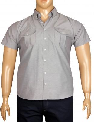- Büyük Beden Kısa Kol Puanlı Gömlek 51060 Gri