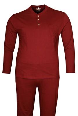 - Büyük Beden Penye Pijama Takımı Bordo 86001