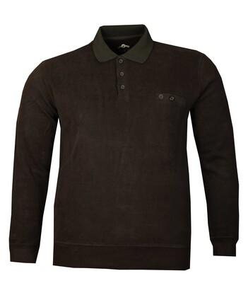- Büyük Beden Polo Yaka Kalın Sweatshirt 98416 / Siyah