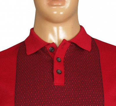 Büyük Beden Polo Yaka Kazak 91032 Kırmızı - Thumbnail