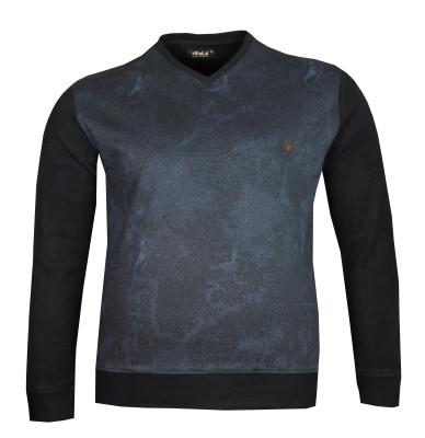 Büyük Beden V Yaka Selanik Sweatshirt 79010 Lacivert - Thumbnail