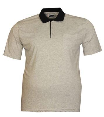 - Büyük Beden Polo Yk Penye T-Shirt 76102 Gri