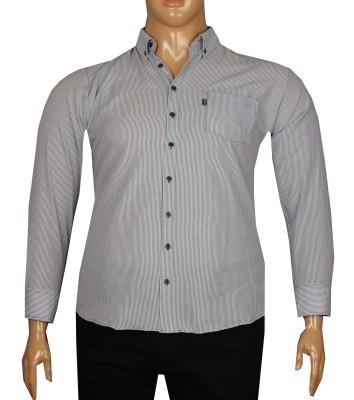 - Büyük Beden Uzun Kollu Çizgili Gömlek 95353 Lacivert