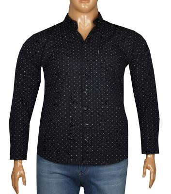 - Büyük Beden Uzun Kollu Desenli Gömlek 95355 Lacivert