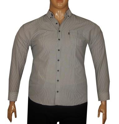 - Büyük Beden Uzun Kollu Çizgili Gömlek 95353 Siyah