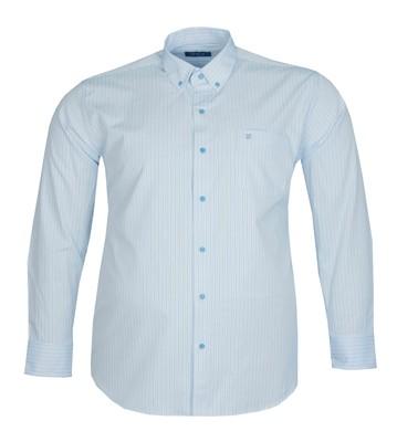 - Büyük Beden Uzun Kollu Çizgili Gömlek 95389 Açık Mavi
