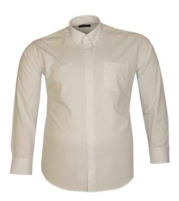 - Büyük Beden Uzun Kollu Çizgili Gömlek 95389 Beyaz