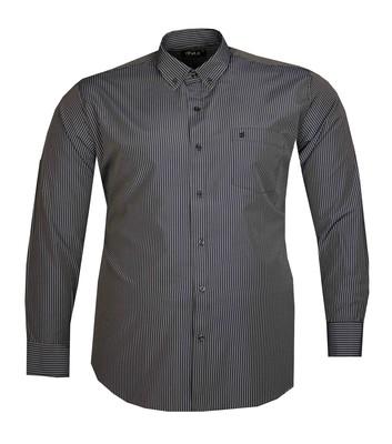 - Büyük Beden Uzun Kollu Çizgili Gömlek 95391 Lacivert