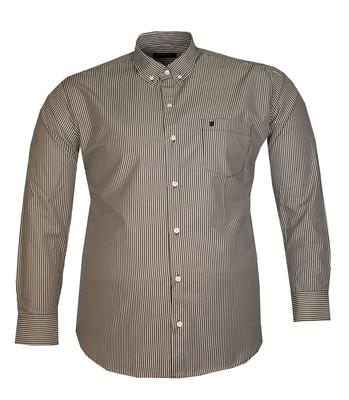 - Büyük Beden Uzun Kollu Çizgili Gömlek 95392 Siyah Beyaz