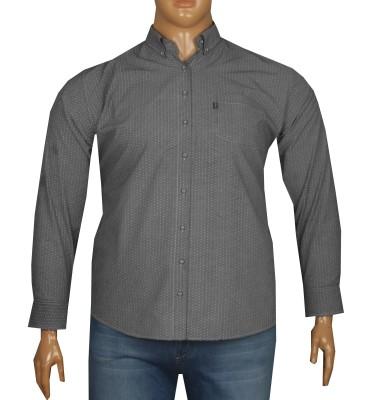 - Büyük Beden Uzun Kollu Desenli Gömlek 95354 Gri