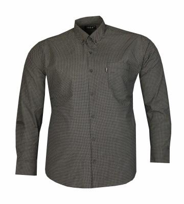 - Büyük Beden Uzun Kollu Desenli Gömlek 95372 Siyah