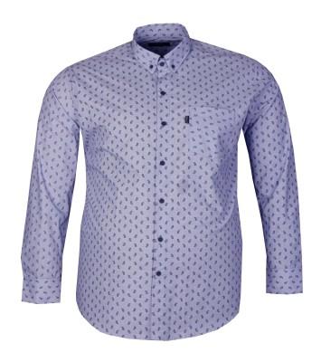 - Büyük Beden Uzun Kollu Desenli Gömlek 95371 Mavi