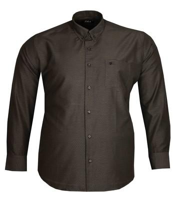 - Büyük Beden Uzun Kollu Desenli Gömlek 95393 Antrasit