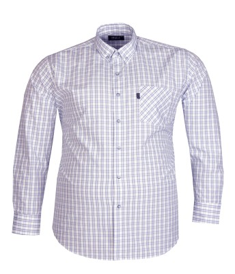 - Büyük Beden Uzun Kollu Kareli Gömlek 95373 Beyaz