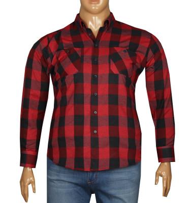 - Büyük Beden Uzun Kollu Oduncu Gömlek 95363 Kırmızı